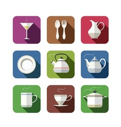 Kitchen tableware set of icons vector