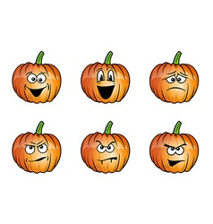 Pumpkin faces cartoon vector