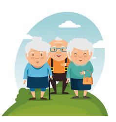 Happy grandparents cartoon vector