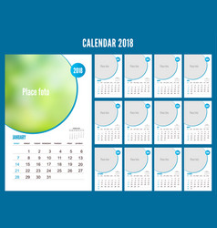 2018 calendar planner design on white background vector image
