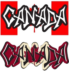 Canada word graffiti different style vector image