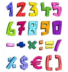 3d cartoon numbers vector image