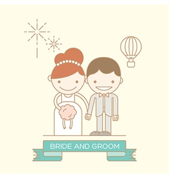 Groom and bride line cartoon icon vector