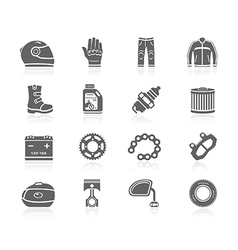 Black icons - motorcycle gear and accessories vector