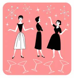 50s ladies vector
