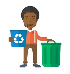 Black man sorting a trash vector