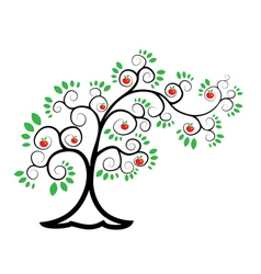 Tree branched apple tree vector