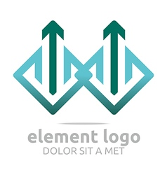 Logo element green arrow blue design symbol icon vector