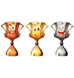 Trophy with happy face vector