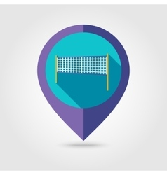 Volleyball net beach sport flat mapping pin icon vector