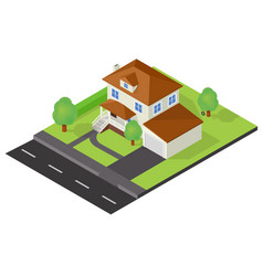 Isometric cottage icon vector