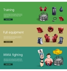 Mma fighting interactive 3d banners set vector