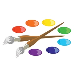 Paintbrushes and basic paint colors vector