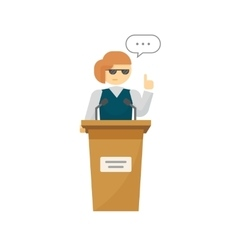 Spokeswoman on podium isolated cartoon vector