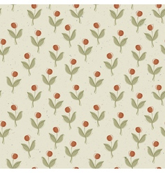 abstract plant with red berry seamless pattern vector image