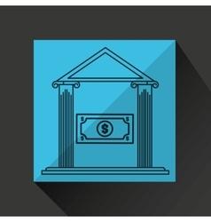 Bank building save money dollar vector