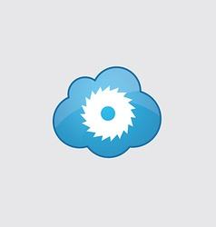 Blue cloud industrial saw icon vector