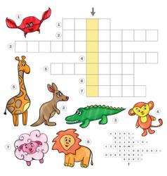 Cartoon crossword game with cute cartoon african vector