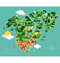 Cartoon map of north america vector