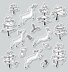 Christmad doodle stikers set with christmas tree vector