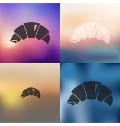 Croissant icon on blurred background vector