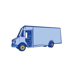 Delivery van side woodcut vector