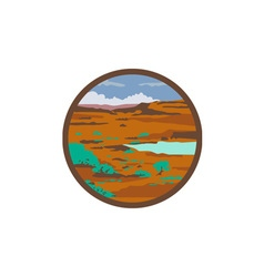 Desert scene circle retro vector