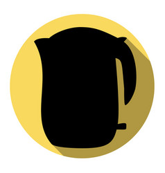 Electric kettle sign flat black icon with vector