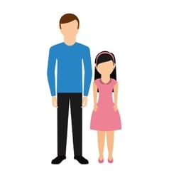 Father with daughter isolated icon vector