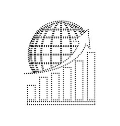 growing graph with earth black dotted vector image vector image