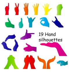 Hand signal silhouettes on white vector