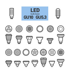 led light gu10 bulbs outline icon set vector image