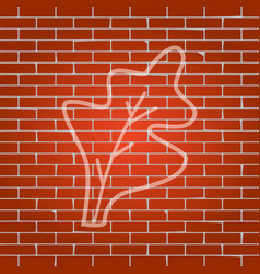 lettuce leave sign whitish icon on brick vector image vector image