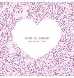 Pink flowers lineart heart silhouette pattern vector