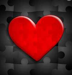 Red heart of puzzle on a background of black vector