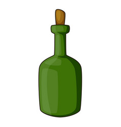 retro green wine bottle icon cartoon style vector image