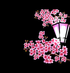 sakura magnificent branches of a cherry tree with vector image vector image