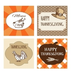 Set of Thanksgiving cards invitations vector image vector image