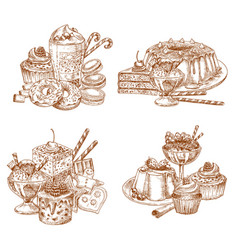 sketch desserts and pastry for bakery shop vector image vector image