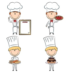 Smart cute chef men vector