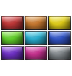 Square buttons in nine colors vector image