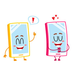Two cartoon mobile phone characters showing love vector