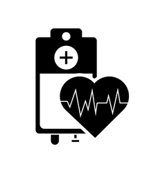 Iv drip bag and heart cardiogram icon vector