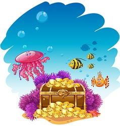 Uderwater scene with treassure box and fish vector