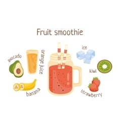 Fruit smoothie infographic recipe with needed vector