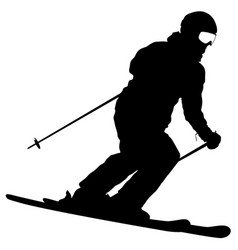mountain skier speeding down slope sport vector image