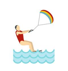 kitesurfing icon flat style vector image