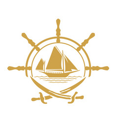 pirate yacht boat logo with wheel and swords vector image