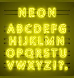 neon font city text night yellow alphabet vector image