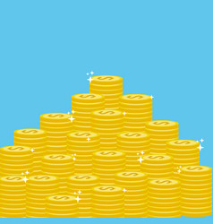 many gold coins money save vector image